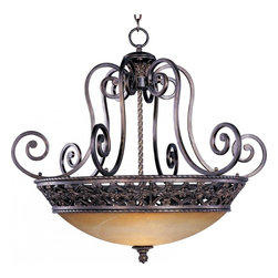 Maxim - Maxim Portofino 4-Light Oil Rubbed Bronze Vintage Amber Glass Up Pendant - This Four Light Up Pendant is part of the Portofino Collection and has an oil rubbed bronze finish and vintage amber glass. It is dry rated.