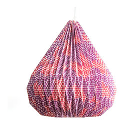 Anyu Honeycomb Pendant - Part simple lantern, part sculptural light, this red and purple honeycomb pendant is certain to catch your eye. Built with heavyweight decorative paper and reinforced with wire to ensure shape, each lamp comes with a socket, plastic bulb protector, electrical cord and ceiling hook.