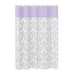 Sweet Jojo Designs - Sweet Jojo Designs Elizabeth Gray & Lavender Kid's Shower Curtain - Create an easy bathroom makeover with this Sweet Jojo Designs shower curtain featuring damask detailing.