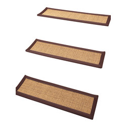 """Natural Area Rugs - """"Casual Elegance"""" Carpet Stair Treads, 100% Sisal, 9"""" x 29"""" (Set of 13) - 100% Natural Sisal, with cotton border, hand crafted in USA by Artisan rug maker. Carpet stair treads adds a bit of fashion to any staircase. They are also a great addition to any house with small children & pets. Not only do carpet stair treads reduce noise on staircase but add traction therefore preventing you or your family members from tripping or falling down the stairs. Variations are part of the natural beauty of natural fiber."""