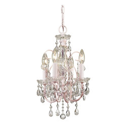 Crystorama - Paris Flea Market Mini - What could be more romantic than a sparkling chandelier? A sparkling chandelier with a hint of pale blush pink. Note the petite size — perfect for your boudoir!