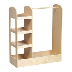 Kid's See and Store Dress-up Center, Natural Finish - Boys and girls alike gravitate to imaginary play. Use a piece like this to make a dress-up spot for a play zone. I like that this one has a hanging rod as well as shelves for shoes, hats, masks and other props.