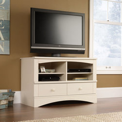 "Sauder - Harbor View 41"" TV Stand - The perfect easy-living cottage look, an eclectic piece of graceful yet simple detailing is highlighted by an antiqued white finish. Features: -Holds TV weighing 240 lbs or less.-Two adjustable shelves hold audio and video equipment.-Two drawers with metal runners and safety stops.-Holds DVDs and CDs.-Made in USA.-Distressed Antiqued White finish.-Harbor View collection.-Recommended TV Type: Flat.-TV Size Accommodated: 41"".-Finish: Antiqued White.-Powder Coated Finish: No.-Gloss Finish: No.-Material: Engineered wood.-Solid Wood Construction: No.-Distressed: Yes.-Exterior Shelves: Yes.-Drawers: Yes -Number of Drawers: 2.-Drawer Glide Material: Metal runners.-Soft Close Drawer Glides: Yes.-Safety Stop: Yes.-Ball Bearing Glides: Yes.-Joinery Type: T-lock.-Drawer Dividers: No.-Drawer Handle Design: Knobs..-Cabinets: No.-Scratch Resistant: No.-Removable Back Panel: No.-Hardware Finish: Wood.-Casters: No.-Accommodates Fireplace: No.-Lighted: No.-Media Player Storage: Yes.-Media Storage: Yes -Media Storage Capacity: Holds 160 CDs or 62 DVDs..-Cable Management: Cable hole.-Remote Control Included: No.-Weight Capacity: 240 lbs.-Swatch Available: Yes.-Commercial Use: No.-Collection: Harbor View.-Eco-Friendly: Yes.-Recycled Content: No.-Lift Mechanism: No.-Expandable: No.-TV Swivel Base: No.-Integrated Flat Screen Mount: No.-Non-Toxic: Yes.-Product Care: Wipe with a damp cloth.-Country of Manufacture: United States.Specifications: -ISTA 3A Certified: Yes.-CARB 2 Certified: Yes.-CARB Certified: Yes.-FSC Certified: Yes.-General Conformity Certified: Yes.-EPP Certified: Yes.Dimensions: -Overall Height - Top to Bottom: 27.48"".-Overall Width - Side to Side: 40.984"".-Overall Depth - Front to Back: 22.756"".-Drawer: Yes.-Shelving: -Shelf Height - Top to Bottom: 11.25"".-Shelf Width - Side to Side: 17.5""..-Cabinet: No.-Legs: No.-Overall Product Weight: 121 lbs.Assembly: -Assembly Required: Yes.-Tools Needed: Phillips screwdriver and hammer.-Additional Parts Required: No.Warranty: -Manufacturer provides 5 year warranty.-Product Warranty: 5 Years."