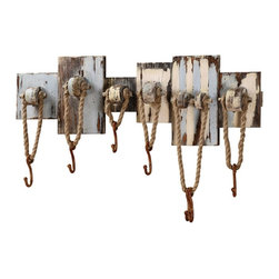 Nautical Rope Hooks Pool House Towel Holder Rack - Whether in a bathroom, a mudroom or an outdoor space, this unique hook rack is a definite statement piece due to its weathered, vintage feel.