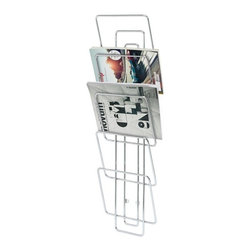 "Blomus - Wires Wall Magazine Organizer - Organize your latest magazines in beautifully simple style with this wall mounted magazine rack.  Five angled slots are widely spaced providing a generous amount of cover view while the slim profile barely juts into your homes ""human mobile space."" Dimensions: 10.6""L x 4""W x 38""H"