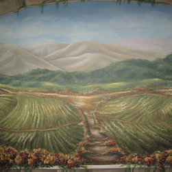 vineyard mural on canvas - vineyard mural on canvas with stone trim. Artwork can be installed on wall like wallpaper. Size for this mural is approximately 5' h x 6' w