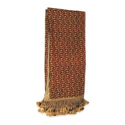 """Canaan - Piica Chenille Wine Throw Blanket - Pica chenille wine throw blanket with soft liner and bullion tassel fringe trim. Measures 46"""" x 68"""". These are custom made in the U.S.A and take 4-6 weeks lead time for production."""