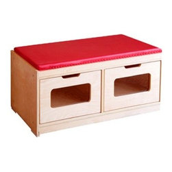 A+ Childsupply Bench Storage Unit - 2 Drawer - About A+ Child Supply, Inc.For over 10 years, A+ ChildSupply has been supplying high quality products for use in schools, daycares and homes. Their design team has developed an extensive series of preschool furniture with safety, durability and beauty as top priorities. Every product built in their factory undergoes an extensive battery of tests and is compliant with all laws and regulations as set forth by the CPSC (Consumer Products Safety Commission) and is also compliant with European standards of EN-71. Each product is designed with protective corners and edges, moisture- and stain-resistant finishes, durable construction methods, environmentally friendly wood, renewable resources, innovation and superior quality and value.