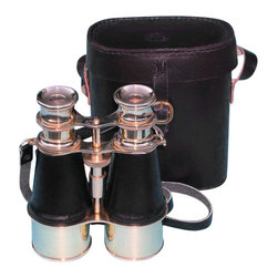 Leather Sheathed Brass Binoculars w/ Handmade Leather Case - These beautiful 8-power large sized binoculars have a hand-sewn leather sheath to improve grip and reduce fingerprints.  Focusing is accomplished using a knurled focusing ring on top of the binoculars.  These binoculars have in-line prisms for improved field of view and have precision ground glass 1.75 inch (44 mm) diameter objective lenses.  The binoculars are 6 inches (15.2 cm) long, 4 1/2 inches (11.4 cm) wide and weigh 2 pounds, 5 ounces (1.05 kg).  The binoculars have a leather strap and come with a handmade leather case.
