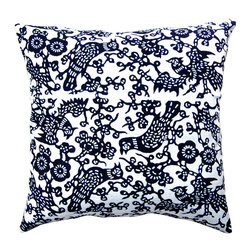 "Luru Home - 20"" x 20"" Chickadee Pillow - Luru Home - LuRu Home works with Artisans along China's eastern seaboard to produce indigo hand - dyed textiles. Chinese have practiced Nankeen indigo hand - dying, a sibling of Japanese Shibori, for over 3,000 years. The process remains largely preserved despite the idustrialization of the textile market."