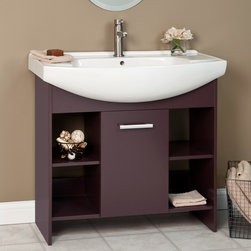 """35"""" Bolton Vanity - A beautiful White semi-recessed sink is the focal point of the 35"""" Bolton Vanity. Featuring storage behind one cabinet as well as four open shelves, this vanity is a functional and stylish addition for your contemporary bathroom."""