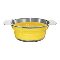"Rosle - Rosle Foldable Colander Yellow 10"" - For straining and washing vegetables, pasta and for washing salads Evenly distributed perforations over the side and base ensure quick and efficient drainage. Three burls in the base provide a steady rest position. Silicone side walls allow easy folding to only 1.6"" (4 cm). Collapsible colander has a patented folding mechanism which allows for space-saving storage. Heat resistant up to 392 F. Dimensions: 10"" (24 cm) diameter . 5-year warranty."
