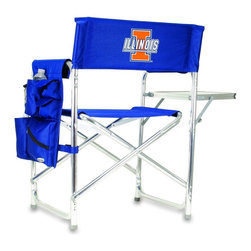 """Picnic Time - University of Illinois Sports Chair in Navy - The Sports Chair by Picnic Time is the ultimate spectator chair! It's a lightweight, portable folding chair with a sturdy aluminum frame that has an adjustable shoulder strap for easy carrying. If you prefer not to use the shoulder strap, the chair also has two sturdy webbing handles that come into view when the chair is folded. The extra-wide seat (19.5"""") is made of durable 600D polyester with padding for extra comfort. The armrests are also padded for optimal comfort. On the side of the chair is a 600D polyester accessories panel that includes a variety of pockets to hold such items as your cell phone, sunglasses, magazines, or a scorekeeper's pad. It also includes an insulated bottled beverage pouch and a zippered security pocket to keep valuables out of plain view. A convenient side table folds out to hold food or drinks (up to 10 lbs.). Maximum weight capacity for the chair is 300 lbs. The Sports Chair makes a perfect gift for those who enjoy spectator sports, RVing, and camping.; College Name: University of Illinois; Mascot: Fighting Illini; Decoration: Digital Print; Includes: 1 detachable polyester armrest caddy with a variety of storage pockets designed to hold the accessories you use most"""