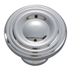 Hickory Hardware - Hickory Hardware 1-1/8 In. Conquest Polished Chrome Cabinet Knob - Bridges contemporary and traditional design.  Offering a deep rooted sense of history in some, with an updated feel and cleaner lines.  Crate & Barrel and Pottery Barn could be considered transitional looks.