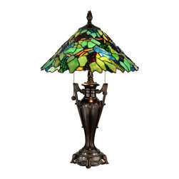 Dale Tiffany - Dale Tiffany TT12367 Signature 2 Light Table Lamps in Fieldstone - Reminiscent of an old world vineyard, our Grape Tree table lamp brings all the charm of sunny Tuscany to your home. Green and yellow art glass leaves combine with brown branches for an authentic tree feel. Jeweled �grapes� in red, blue and green have been placed throughout the shade, so realistic that you will want to reach out and pluck them right off the vine. The metal base is intricately cast with fine detail work around the footed pedestal and two arms resembling a trophy. Both base and matching finial are finished in burnished antique bronze. Perfect in pairs on matching end tables or on a larger nightstand, the Grape Tree table lamp is an ideal way to bring the great outdoors inside in a beautiful way.