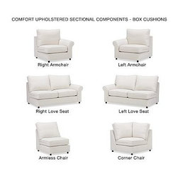 PB Comfort Roll Arm Upholstered SectionalArmless Loveseat Knife-EdgeUpholsteredT - Built by our own master upholsterers in the heart of North Carolina, our PB Comfort Upholstered Sectional Components are designed for unparalleled comfort with deep seats and three layers of padding. {{link path='pages/popups/PB-FG-Comfort-Roll-Arm-4.html' class='popup' width='720' height='800'}}View the dimension diagram for more information{{/link}}. {{link path='pages/popups/PB-FG-Comfort-Roll-Arm-6.html' class='popup' width='720' height='800'}}The fit & measuring guide should be read prior to placing your order{{/link}}. Choose polyester wrapped cushions for a tailored and neat look, or down-blend for a casual and relaxed look. Choice of knife-edged or box-style back cushions. Proudly made in America, {{link path='/stylehouse/videos/videos/pbq_v36_rel.html?cm_sp=Video_PIP-_-PBQUALITY-_-SUTTER_STREET' class='popup' width='950' height='300'}}view video{{/link}}. For shipping and return information, click on the shipping tab. When making your selection, see the Quick Ship and Special Order fabrics below. {{link path='pages/popups/PB-FG-Comfort-Roll-Arm-7.html' class='popup' width='720' height='800'}} Additional fabrics not shown below can be seen here{{/link}}. Please call 1.888.779.5176 to place your order for these additional fabrics.