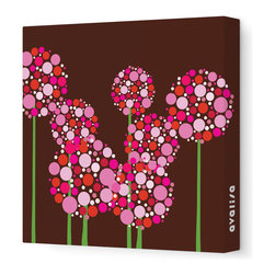 "Avalisa - Imagination - Allium Stretched Wall Art, Brown Pink, 28"" x 28"" - Art is the best way to add personality to your home. These clusters of multi-hued flowers would bring a pop art vibe to a blank wall and liven up your space. The stretched canvas means it's ready to hang and you don't even have to worry about framing. Ready, set, decorate!"