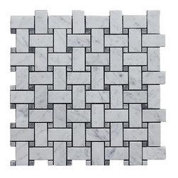 Carrara Bianco Honed 1x2 Basketweave Bardiglio Gray Dot Mosaic - Premium Italian Marble Carrara Basketweave with a Bardiglio gray dot available exclusively online through thebuilderdepot.com