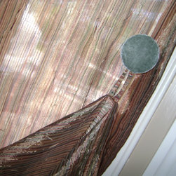 window treatments - colorful sheer panel with velvet button accents