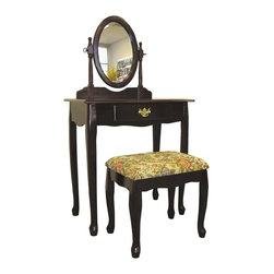 ORE International - 3 Pc Vanity Table Set in Walnut Finish - Includes vanity, mirror and stool. Oval adjustable mirror. Cabriole Legs. Floral brocade fabric design. Gold plated drawer pull. Upholstered vanity stool. Queen Anne inspired design. Made of wood composite. Cherry finish. Assembly required. Vanity: 29.5 in. L x 18 in. W x 49 in. H (38 lbs.). Mirror: 13 in. L x 18.5 in. H. Stool: 15.75 in. W x 11.75 in. D x 17 in. HTraditional with an ornate look and a budget friendly price, this three-piece vanity set will be an appealing addition to any decor. Ideal in a bedroom or as an accent in a hall.