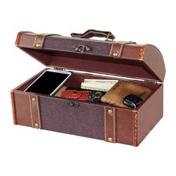 Dresser Valet Leather Chest with Velvet Lining - Organize your watches, pens, cell phone, wallet and loose change in this classic design leather valet. The Faux leather black with velvet lining allows for ample room to store all your extra belongings. This meticulously handcrafted valet can be placed on a dresser, nightstand or desk. Great Gift Idea!