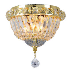"Worldwide Lighting - Empire 3 Light Gold Finish Crystal Flush Mount Ceiling Light 8"" Round Small - This stunning 3-light ceiling light only uses the best quality material and workmanship ensuring a beautiful heirloom quality piece. Featuring a radiant gold finish and finely cut premium grade crystals with a lead content of 30%, this elegant ceiling light will give any room sparkle and glamour. Worldwide Lighting Corporation is a privately owned manufacturer of high quality crystal chandeliers, pendants, surface mounts, sconces and custom decorative lighting products for the residential, hospitality and commercial building markets. Our high quality crystals meet all standards of perfection, possessing lead oxide of 30% that is above industry standards and can be seen in prestigious homes, hotels, restaurants, casinos, and churches across the country. Our mission is to enhance your lighting needs with exceptional quality fixtures at a reasonable price."