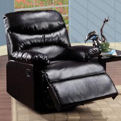 "Acme Furniture - Recliner in Espresso Bonded Leather - Recliner in Espresso Bonded Leather; Finish: Espresso Bonded Leather; Dimensions: 38""L x 35""D x 40""H"