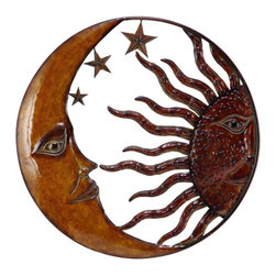 Benzara - Metal Sun Moon Wall Decor with Antique Brown Look - Wall decor with great decor sense. Support your existing wall decor with 63767 Metal SUN MOON WALL DECOR. It is an excellent anytime low priced wall decor upgrade option for everyone. Just have a look over it, you will fall in instant love with its beauty.