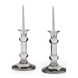 Go Home - Go Home Knobbed Candlesticks - These impressive and lavish Knobbed Candlesticks are made of glass and come in handblown finishing. You will surely want to treasure them to embellish your dwelling. These look very Victorian and seem to tell an old lost tale. These are very durable and will not lose their luster.