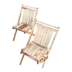 Used Antique Folding Wood Camp Chairs - A Pair - A pair of 1940s folding wooden camp chairs. These chairs have a charming distressed look. This pair would be great for styling a wedding vignette or in a French Country or Shabby Chic styled space.