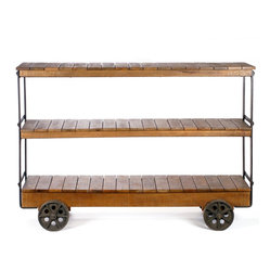 Bradbury | Three Shelf Rustic Console Display - You've heard of the double-decker, but this one has got that beat. This delightful triple-decker console cart rolls through your living room or bedroom, waiting for your TV, discs, books or other items to hop on.