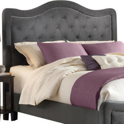 Hillsdale Furniture - Hillsdale Trieste Upholstered Fabric Headboard with Rails in Pewter - King - The Trieste bed is both fashionable and comfortable. An impressive, large headboard is complimented by nail-head trim and button and tuck styling. The fabric covered side rails and footboard continue the soft, luxurious theme. Available in your choice of three colors, the Trieste bed is a fantastic addition to any home. Fabric color choices: buckwheat, chocolate, and pewter