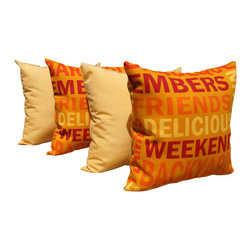 Land of Pillows - Grillin Flame Red and Solar Buttercup Yellow Outdoor Throw Pillow - 4 Pack, 20x2 - Fabric Designer - Richloom