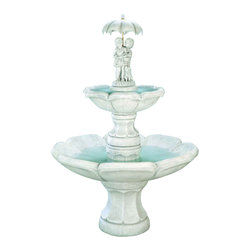 April Showers Fountain, Sun Terra - *Please Note: Our color chart is for example purposes only. Monitor settings and how the finish is applied to these outdoor water fountains can vary to what is shown in the color chart.  Actual stone samples of each finish can be purchased to help you make your finish choice.