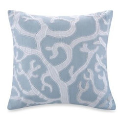 Harbor House - Harbor House Crystal Beach 18-Inch Square Embroidered Toss Pillow - This beautifully designed toss pillow in crystal blue with white coral embroidery adds to the serene look of the Crystal Beach bedding.