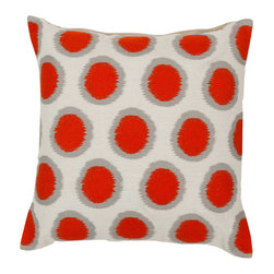 Surya Rugs - Papyrus Orange-Red and Flint Gray Polyester Filled 18 x 18  Pillow - - Add fun to any room with this polka-dot design and colors of papyrus orange-red and flint gray. This pillow has a polyester fill and zipper closure. Made in India with one hundred percent linen this pillow is durable and priced right  - Cleaning/Care: Blot. Dry Clean  - Filled Material: Polyester Filler Surya Rugs - AR092-1818P
