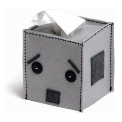 Robot Tissue Box Cover by Snotty Bots - Sad robot wants you to get better. This is such a cute addition to a kidlet's room.