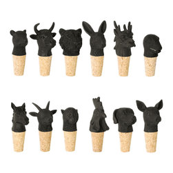 imm Living - imm Living Best Years Black Wine Stoppers, Set of 12 - Gang's all here. Crafted from black resin and cork, these whimsical wine stoppers are inspired by the Chinese zodiac. The 12 different animal signs—tiger, rabbit, rooster, dog, goat, ox, rat, dragon, snake, monkey, horse, and pig—are all represented. Gift them to a wine-loving friend, or use to top off opened bottles the next time you entertain.Set of 12 stoppers; one of each animalCork bottom with resin top