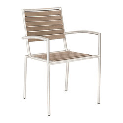 Eurostyle - Eurostyle Nathan Arm Chair in Taupe & Stainless Steel [Set of 4] - Arm Chair in Taupe & Stainless Steel belongs to Nathan Collection by Eurostyle These chairs hit all the right buttons. Indoor/Outdoor. Stackable. The look of teak slatted seats and backs. There's a breezy, just-right feel with these chairs. Side or with arms. Arm Chair (4)