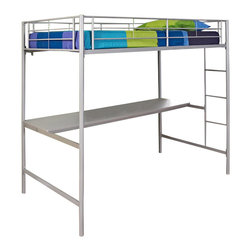 Walker Edison - Walker Edison Twin Over Workstation Bunk Bed in Silver - Walker Edison - Bunk Beds - BTOZSPSL - This simple yet contemporary twin-over-workstation bunk bed conveys chic style with its clean lines and the sturdy metal-crafted frame promises stability and function. Designed with safety in mind this bed includes full length guardrails and an integrated ladder. This bed is ideal for space-saving needs with a full working area and convenient shelving below the loft.