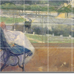 Picture-Tiles, LLC - Lydia Seated On A Porch Crocheting Tile Mural By Mary Cassatt - * MURAL SIZE: 24x40 inch tile mural using (15) 8x8 ceramic tiles-satin finish.