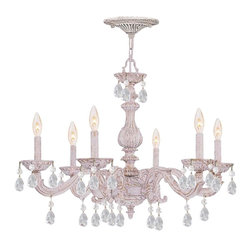 Crystorama - Crystorama 5036-AW-CL-SAQ Chandelier - The Sutton Collection uses a textured Venetian Bronze finish to remind us of a Paris flea market. The combination of wrought iron with clear crystal accents makes this fixture both timeless and whimsical. This Paris Flea chandelier works perfectly in smal The combination of wrought iron with Rose crystal accents makes this fixture both timeless and whimsical. Each crystal is polished on a wood wheel with marble dust.