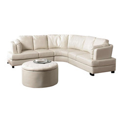 Coaster - Coaster Landen Contemporary Curved Leather Sectional in Cream - Coaster - Sectionals - 503103 - With its contemporary curved design this sectional sofa is sure to make a statement in any room. High track arms and solid wood feet are clean and crisp while a curved wedge adds a soft touch. Bonded leather seats offer a high-quality look and feel perfect for your family room or home entertainment area. Relax with family and friends on this functional and fashionable sectional sofa. Armless chair available for extended length on one side.