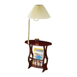 "Coaster - ""Coaster Magazine Table, Cherry"" - ""Cherry finished chairside table with brass finish lamp and magazine rack.Dimensions (W x L x H): 15.75"""" x 23.75"""" x 52.50""""Finish/Color: CherryAssembly Required: NoMade in Taiwan"""