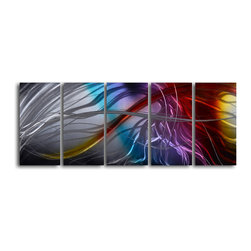 "'Phoenix Rising' 5 Piece Handmade Metal Wall Art Set - Size: 24"" x 60"" (24"" x 12"" x 5pc).  Enjoy a 100% hand crafted metal wall art made of high grade brushed aluminum over a 1/2 inch thick inner wooden frame. This beautiful wall decor is hand painted and ready to hang out of the box. Each aluminum sheet is hand sanded and hand grinded until the desired holographic effect is accomplished. This process brings the artwork to life and you see it moving as you walk by. Then the grinded panels are hand painted with multiple layers of paint and finished with clear UV coat. With each purchase of our metal art you receive a one of a kind piece due to the handcrafted nature of the product. Hand crafted by a single talented artist. Due to the handcrafted nature, each piece may have subtle differences."