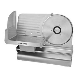 "Kalorik - Meat Slicer - Stop paying extra for pre sliced food! Slice your own meat, cheese, bread, vegetables and fruit quickly and easily with this quality slicer. Features precision depth control and a strong, high-quality 200-watt gear motor. Variable thickness control dial ranges from 0 (safe mode) when unit is put away to deli-thin 1/32"" to 1/2"" thick. The large multipurpose 7.5"" serrated stainless steel blade handles a wide range of food sizes and shapes. Features: -Suitable to cut meat, cheese, or bread. -Powerful 200-watt motor can slice even frozen meats. -Adjustable thickness from 0 - 0.5"". -Removeable 7.5"" serrated stainless steel blade. -Aluminum alloy housing will withstand heavy use. -Rubber non-slip feet for safety. Specifications: -Material: Stainless steel blade with aluminum housing. -Overall Dimensions: 8"" H x 15"" W x 10"" D. -Voltage: 120 volts. -Power Consumption: 200 watts. -ETL Approved."