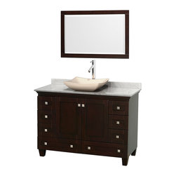 "Wyndham Collection - 48"" Acclaim Single Vanity w/ White Carrera Marble Top & Avalon Ivory Marble Sink - Sublimely linking traditional and modern design aesthetics, and part of the exclusive Wyndham Collection Designer Series by Christopher Grubb, the Acclaim Vanity is at home in almost every bathroom decor. This solid oak vanity blends the simple lines of traditional design with modern elements like beautiful overmount sinks and brushed chrome hardware, resulting in a timeless piece of bathroom furniture. The Acclaim comes with a White Carrera or Ivory marble counter, a choice of sinks, and matching mirrors. Featuring soft close door hinges and drawer glides, you'll never hear a noisy door again! Meticulously finished with brushed chrome hardware, the attention to detail on this beautiful vanity is second to none and is sure to be envy of your friends and neighbors"