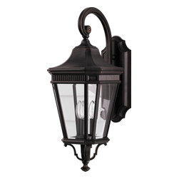 Murray Feiss - Murray Feiss Cotswold Lane Transitional Outdoor Wall Sconce X-ZBG2045LO - A traditional tapered lantern shape with plenty of texturing ensures that this Murray Feiss outdoor wall sconce will add interest and ample lighting to any outdoor space. From the Cotswold Lane Collection, it features sturdy aluminum construction and clear beveled glass panels that ensure it will last for years to come. A rich Grecian Bronze finish and candelabra style lights complete the look.