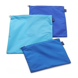 3-Piece Zipper Bag Set - Made from scraps of nylon used to manufacture the popular Baggu totes, these handy zippered bags in three sizes and shades of blue are great for organizing toiletries, tech gear, clothing and more.