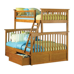 Atlantic Furniture - Atlantic Furniture Columbia Twin over Full Bunk Bed in Caramel Latte - Atlantic Furniture - Bunk Beds - AB55207 -